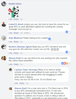 reaction on Buhari using HTC phone