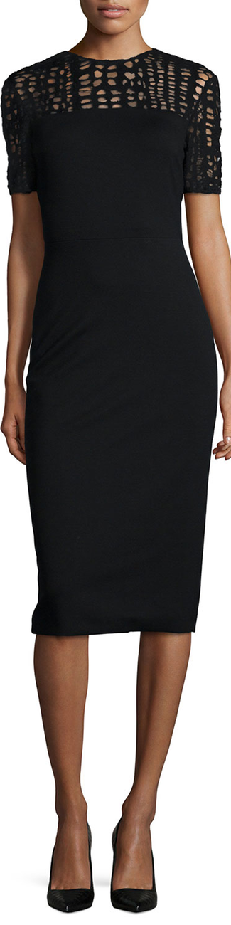 Jason Wu Lace-Yoked Jersey Sheath Dress