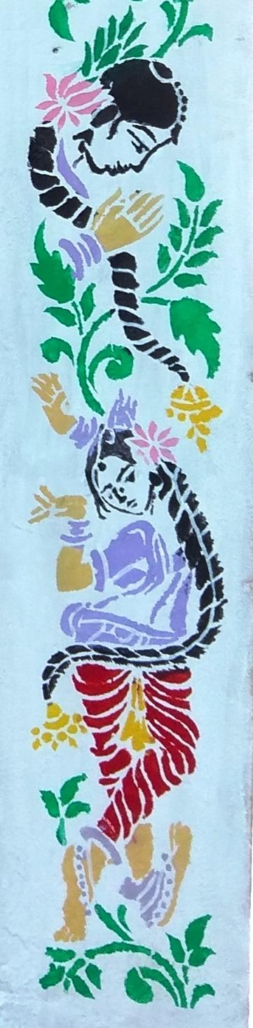 Stencil Printing on wall   KV BOWENPALLY ART CLUB