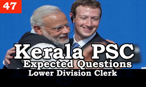 Kerala PSC - Expected/Model Questions for LD Clerk - 47