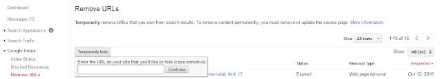 Remove Url Webmaster Tools