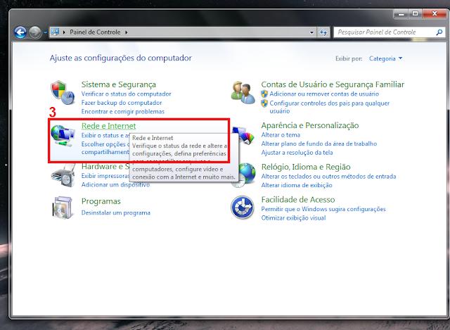 3 - Dentro de Painel de Controle vá em Rede e Internet.