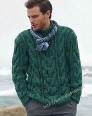 vyazanie dlya mujchin pulover s relefnim uzorom spicami s opisaniem i shemoi uzora