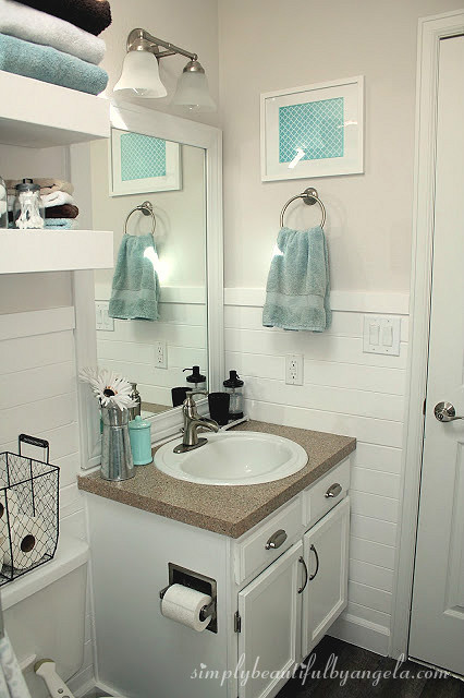 Shiplap in the Bathroom | Simply Beautiful By Angela on Small Apartment Bathroom Ideas  id=32477