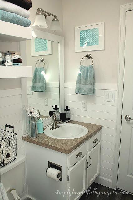 Shiplap in the Bathroom | Simply Beautiful By Angela on Small Apartment Bathroom Ideas  id=81784