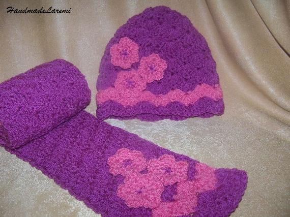 CrochetBabyHatandScarfVioletCrochetBabyHatandScarfCrochet  Crochet Hats And Scarves For Kids