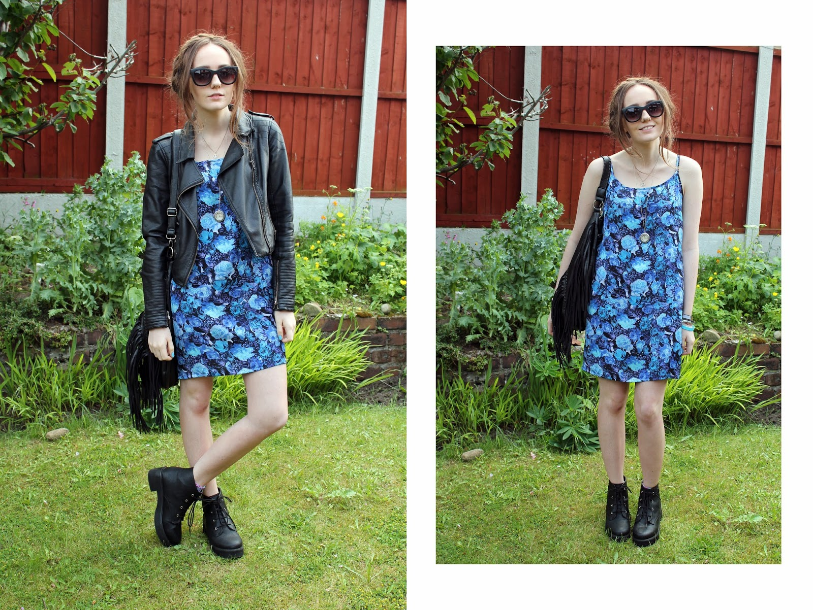 milkmaid braids, matte primark sunglasses, blue floral slip dress, faux leather jacket, fringed leather bag, asos revolution boots, OOTD