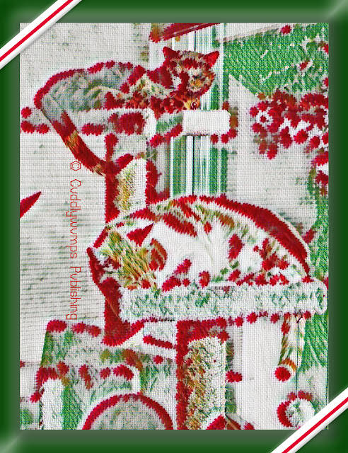 The Real Cats on the cat tree, Christmas needlepoint effect