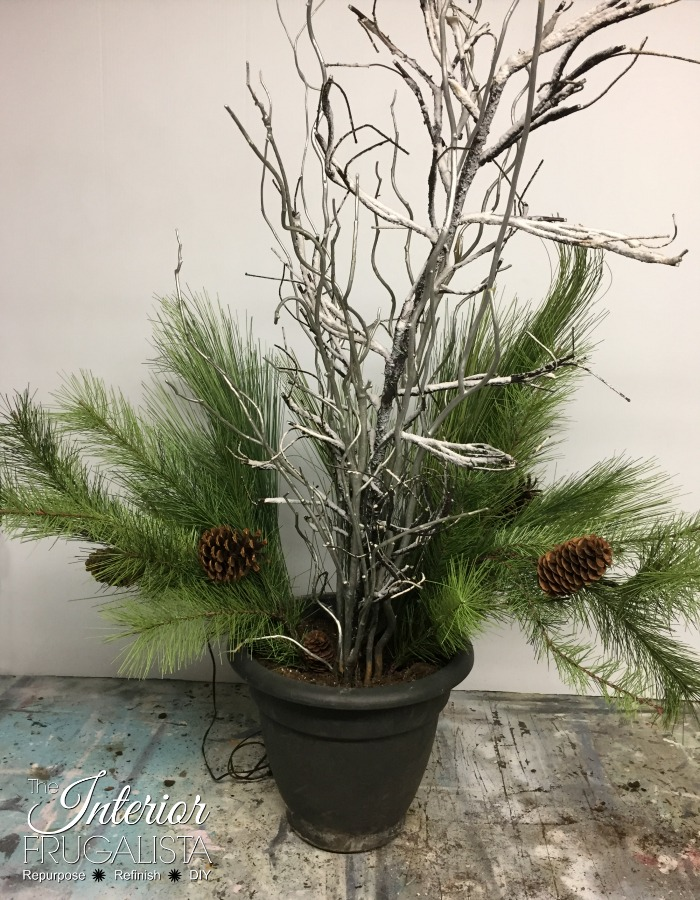Outdoor Christmas Planters With Mixed Artificial Pine