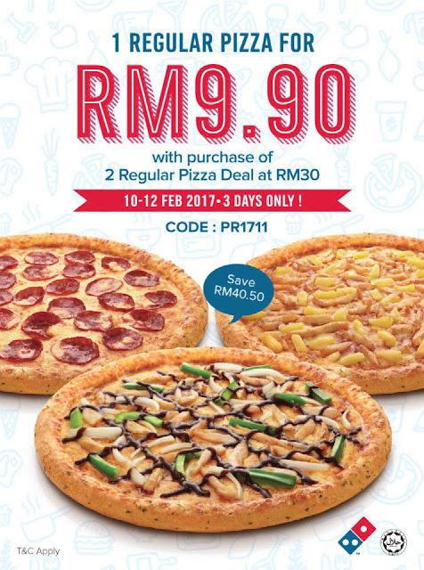 Domino's Pizza Malaysia Regular Pizza Discount Promo Deal