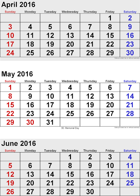 ... Printable Calendar : April May June 3 Months Printable Calendar 2016