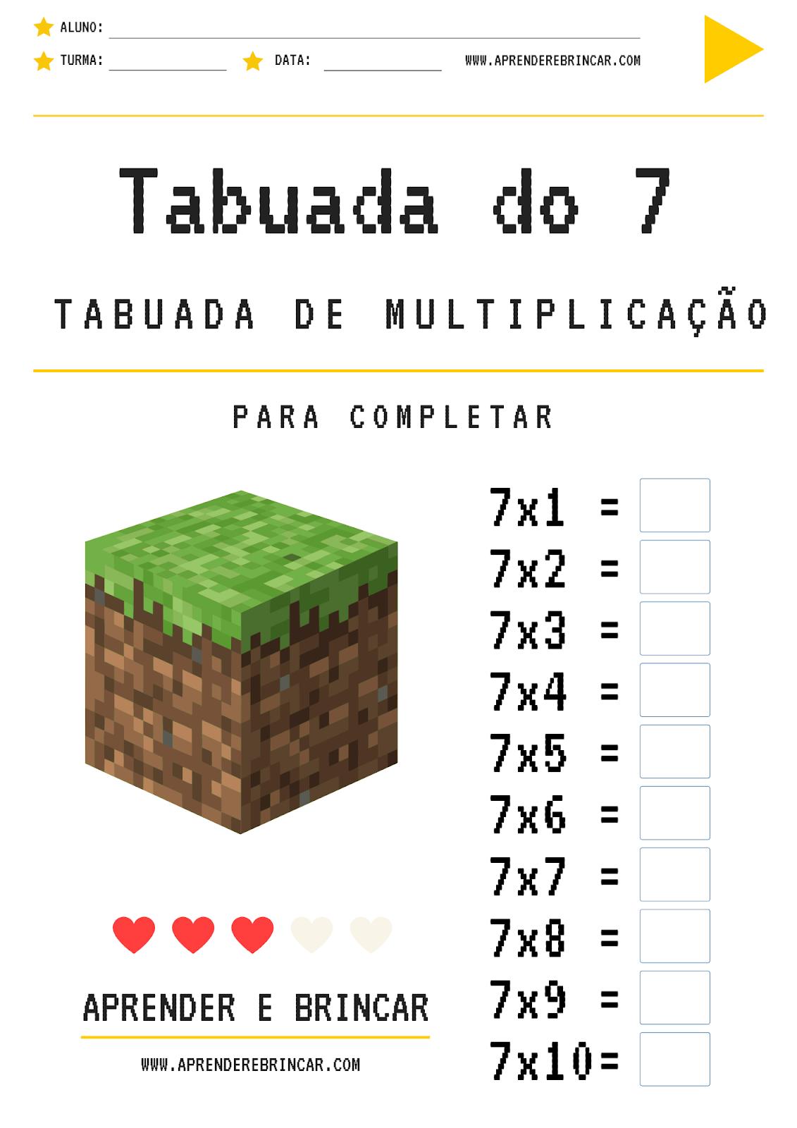 Tabuada de multiplicação do 7