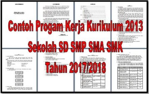 Contoh Progam Kerja Kurikulum 2013 Sekolah SD SMP SMA SMK Tahun 2017/2018