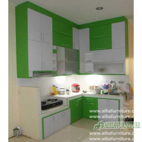 kitchen set sudut L minimalis green