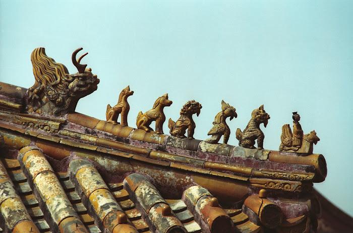 Pékin, Beijing, Palais Impérial,Cité interdite, toitures, figurines, © L. Gigout, 1990