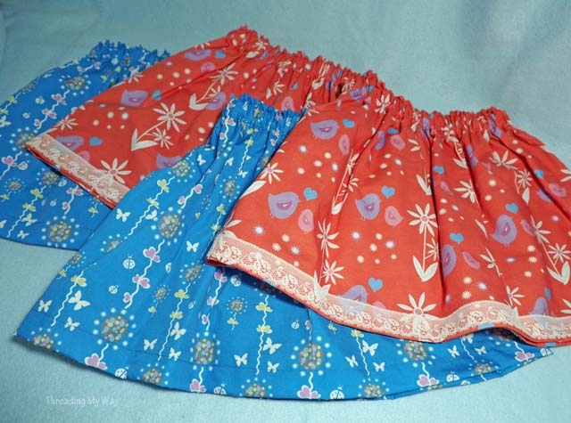 Simple gathered skirts, with link to free tutorial. Sewn in support of Skirting the Issue ~ Threading My Way