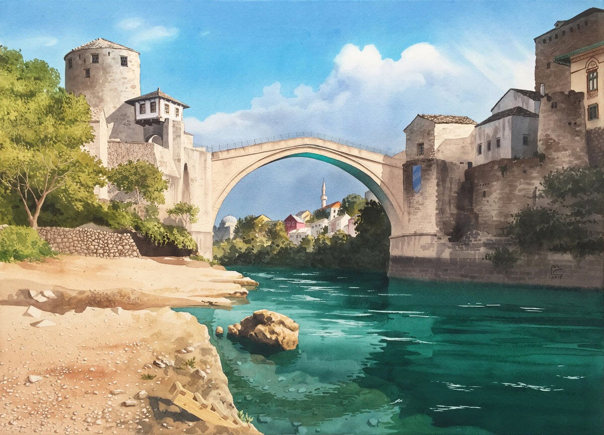 09-The-old-bridge-Mostar-Bosnia-and-Herzegovina-Eleanor-Mill-European-Architecture-in-Watercolor-Paintings-www-designstack-co