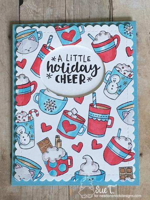 Warm cocoa Card by Sue | Cup of Cocoa and Ornamental Wishes Stamp Sets by Newton's Nook Designs; #newtonsnook