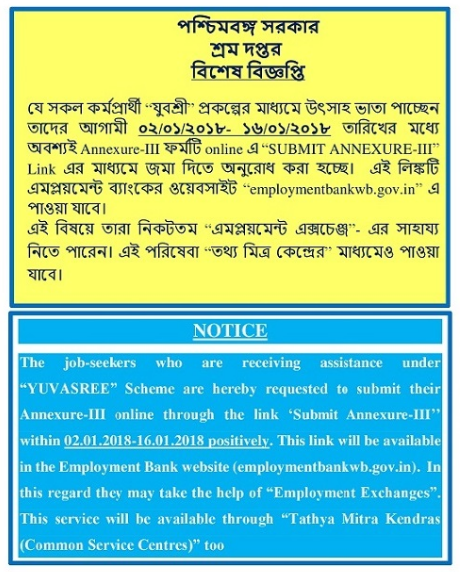 Employment bank/Yuvasree Annexure-III submit notice
