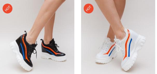 Adidasi cu talpa groasa albi, negri cu dungi colorate pentru femei