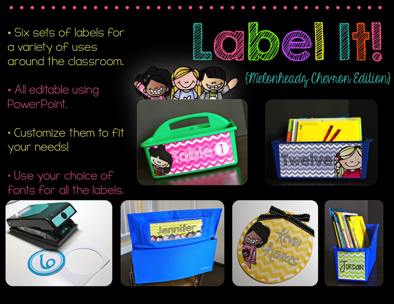 http://www.teacherspayteachers.com/Product/Label-It-Melonheadz-Chevron-Edition-Editable-Classroom-Labels-1370048