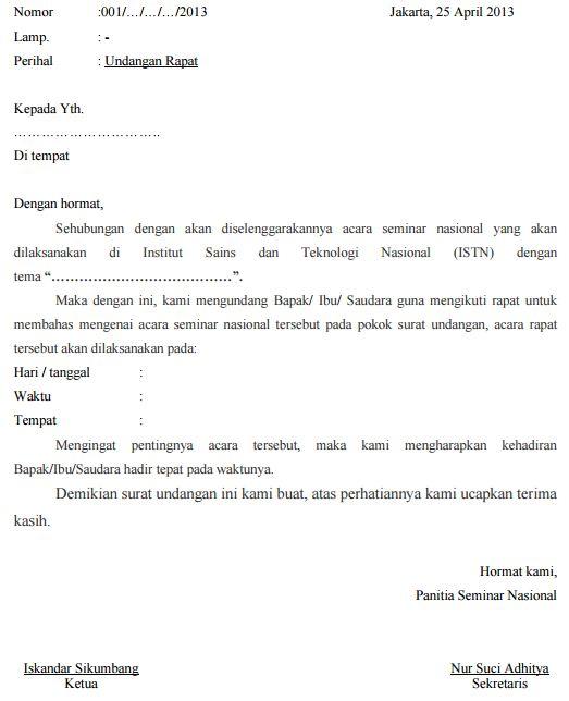 Contoh Surat Undangan Rapat Osis Pembentukan Panitia Dies
