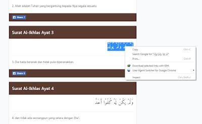 Mengcopy tulisan Arab di internet