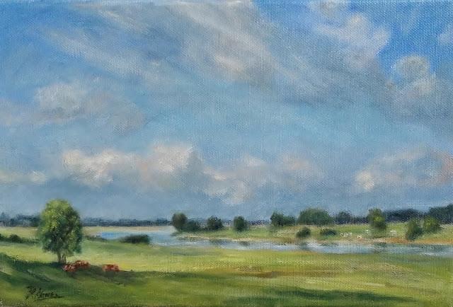 Olieverf, rivierlandschap, landschap stap voor stap, kleuren mengen