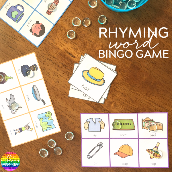 Word Family BINGO game - ready to print  game for a whole class. These are a fun way to hear and identify rhyme | you clever monkey