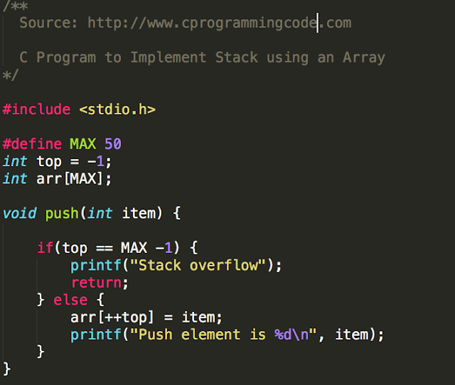 C Program to Implement a Stack Using Array