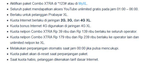 Keterangan Paket Internet XL 4G Combo Xtra Terbaru