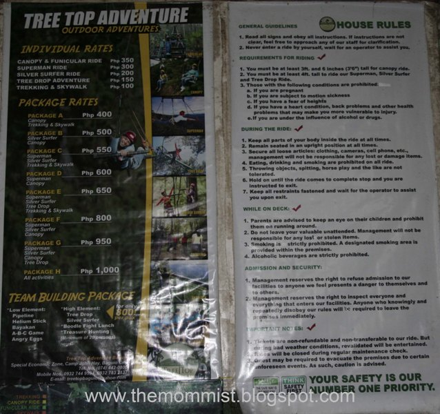 Tree Top Adventure Baguio rates and house rules