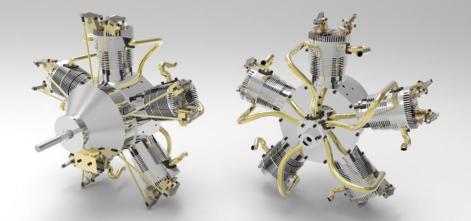 212  RADIAL ENGINE 5 CYLINDERS    FREE DOWNLOAD 3D MODEL