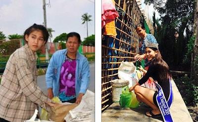 Khanitta Phasaeng membantu Ibu mengais tempat sampah