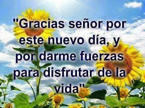 Gracias Señor por este nuevo día, y por darme fuerzas para disfrutar de la vida.