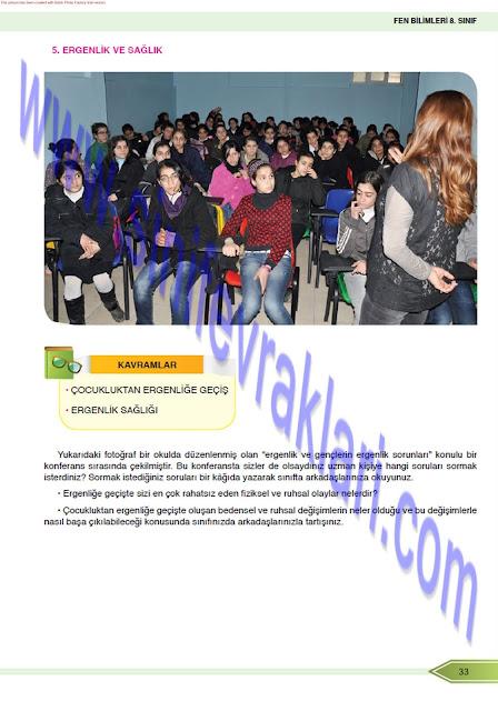 8. Sınıf Öğün Yayınları Fen Bilimleri Ders Kitabı Cevapları Sayfa 33