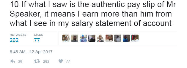 Suspended lawmaker Jibrin reacts to Dogara's 300k alleged salary (see tweets)