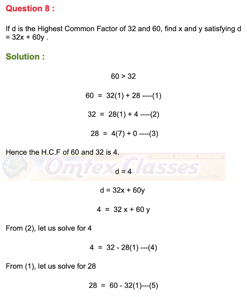 If d is the Highest Common Factor of 32 and 60, find x and y satisfying d = 32x + 60y.