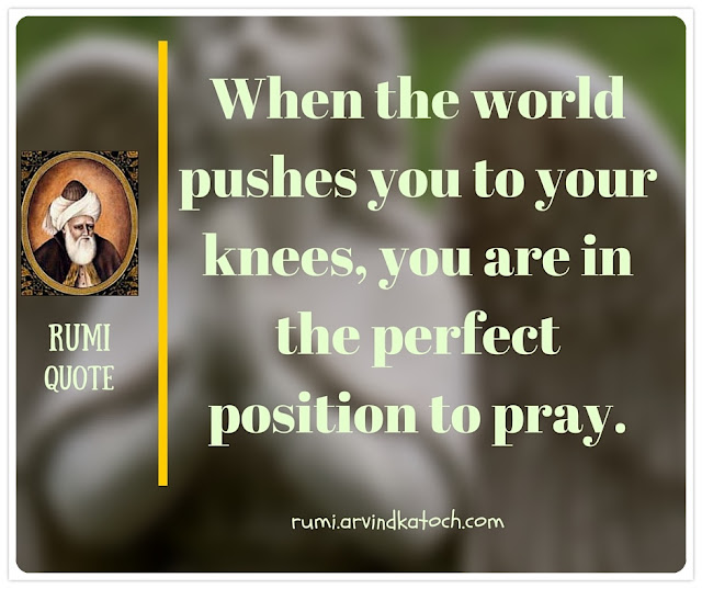 Rumi Quote, Image, Meaning, world, pushes,knees, Pray, Rumi