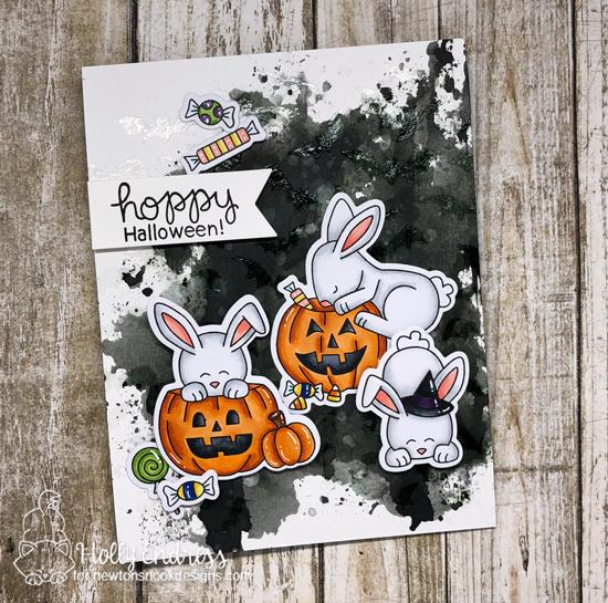 Bunny Halloween Card by Holly Endress | Hoppy Halloween Stamp Set and Flying Bats Stencil by Newton's Nook Designs #newtonsnook #handmade #halloween
