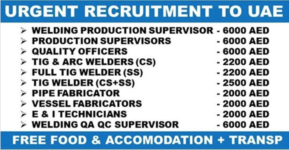 URGENTLY REQUIRED FOR FRENCH COMPANY - UAE | APPLY NOW | All