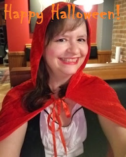 Me in costume, wishing you a Happy Halloween!