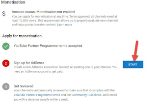 youtube create monetize start buttom