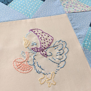 vintage style duck embroidery