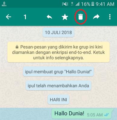 WhatsApp - Tap dan tahan pesan lalu pilih Hapus