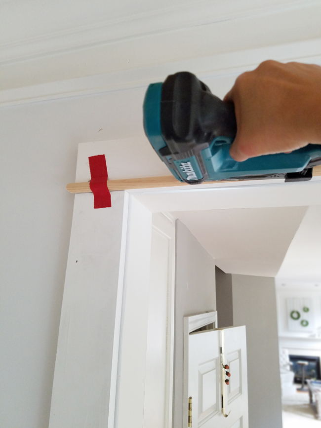 Makita pin nailer used to install door trim