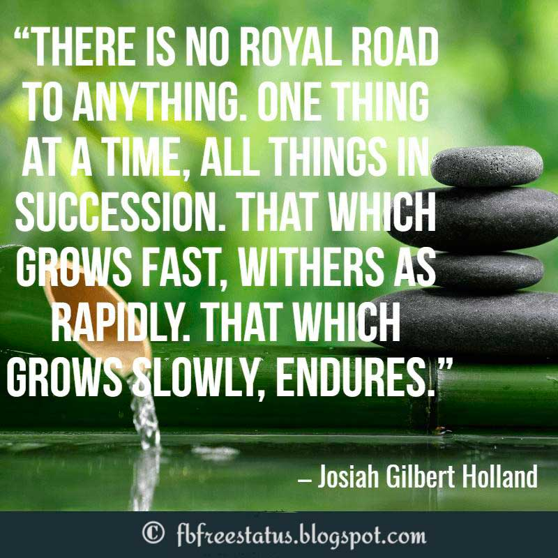 Inspirational Life Quotes, There is no royal road to anything. One thing at a time, all things in succession. That which grows fast, withers as rapidly. That which grows slowly, endures. – Josiah Gilbert Holland
