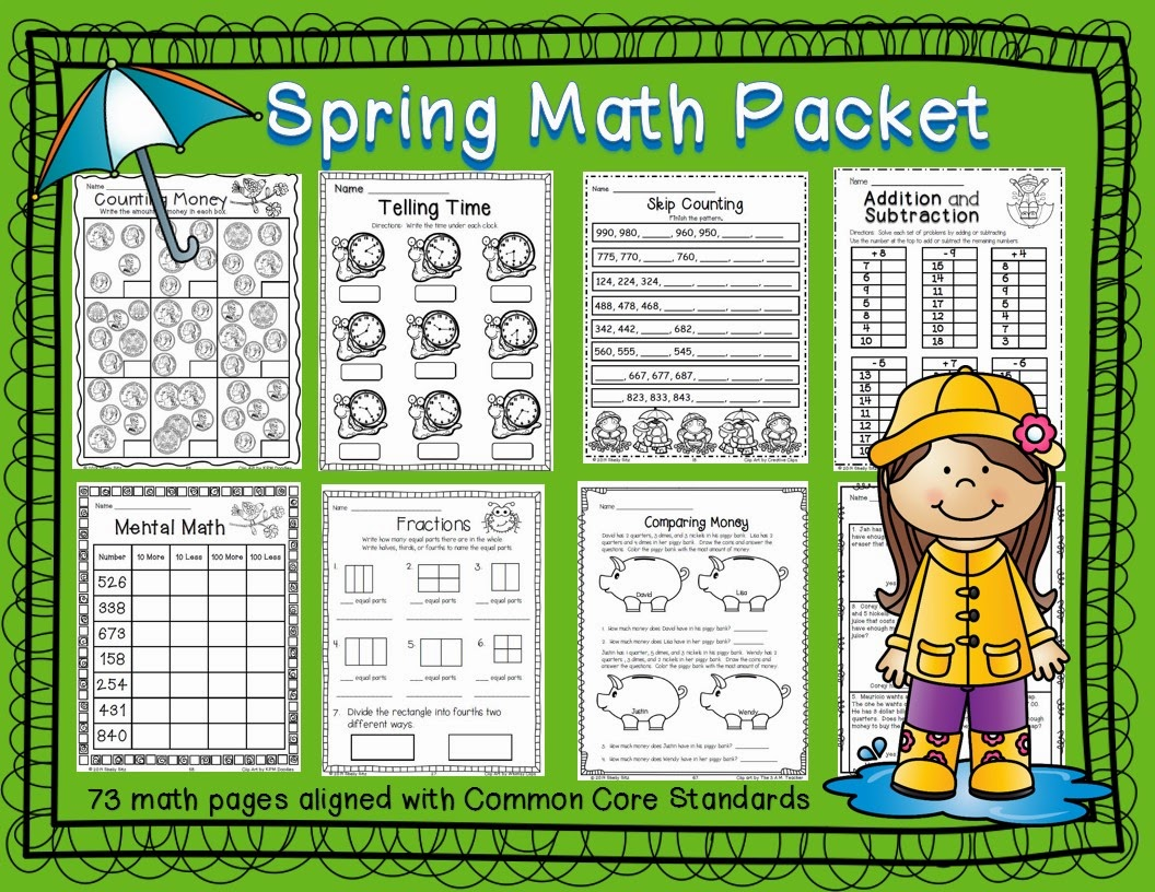 Smiling And Shining In Second Grade: Spring Math Packet