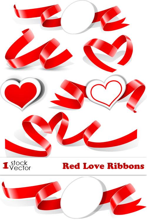 Best Vectors Clipart Red Heart Ribbon Love Vector 1ai Files
