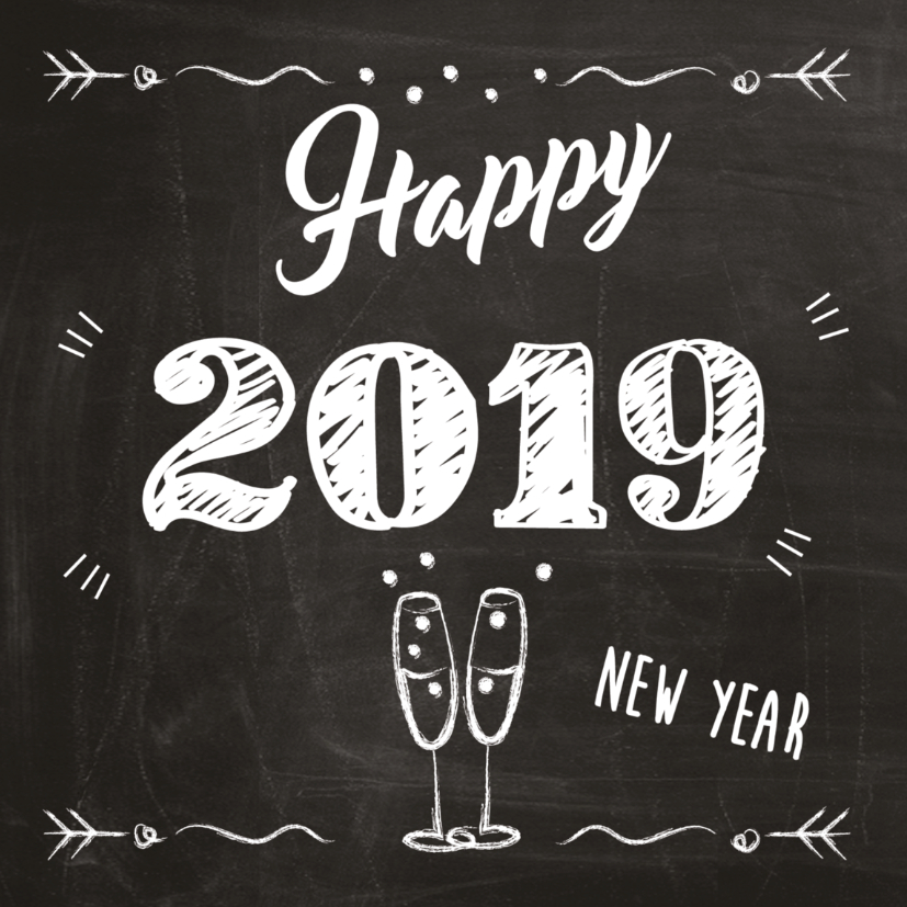 """HELLO 2019 """"Happy New Year Pageant Mania"""" 2019-op-schoolbord-met-champagne"""